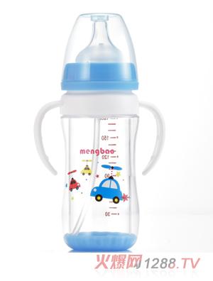 盟宝双层抗摔玻璃奶瓶180ml-蓝色