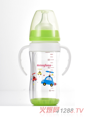 盟宝双层抗摔玻璃奶瓶180ml-绿色