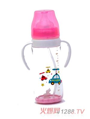 盟宝双层抗摔玻璃奶瓶不透明盖-粉色