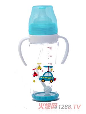 盟宝双层抗摔玻璃奶瓶不透明盖-蓝色