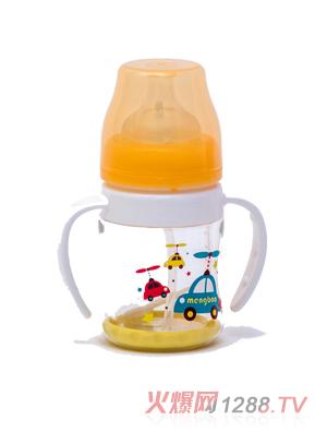 盟宝双层抗摔玻璃奶瓶-小橙