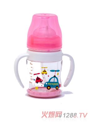 盟宝双层抗摔玻璃奶瓶-小粉