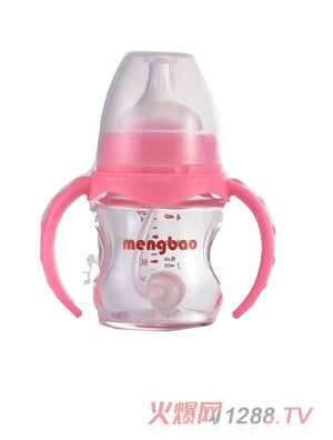 盟宝有吸管玻璃奶瓶