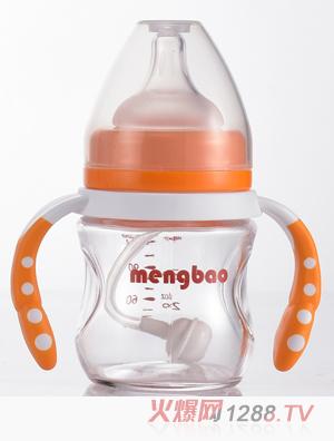 盟宝有吸管玻璃奶瓶橙色
