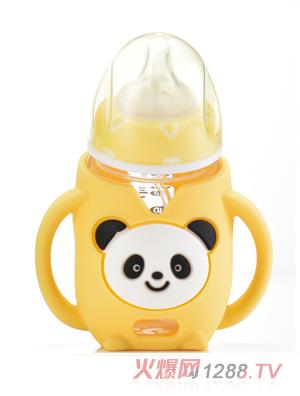盟宝熊猫玻璃奶瓶-黄色