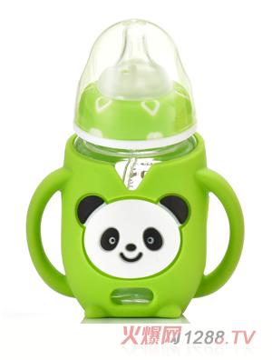 盟宝熊猫玻璃奶瓶-绿色
