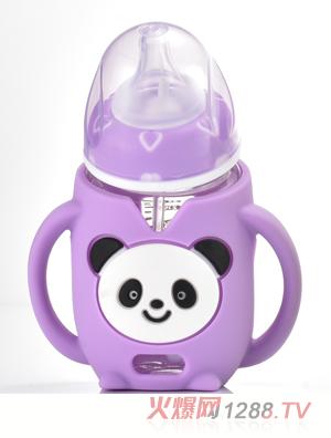 盟宝熊猫玻璃奶瓶-紫色