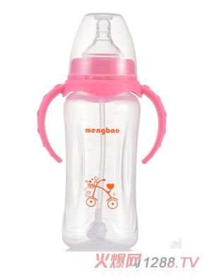 盟宝宽口PP奶瓶-粉色