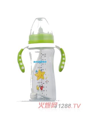 盟宝小蛮腰高透PP奶瓶300ml-绿色