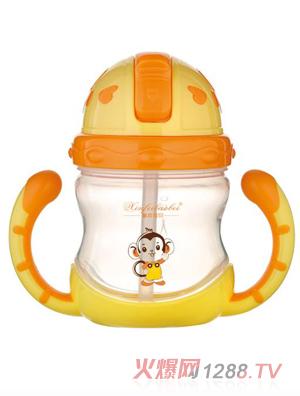 馨菲宝贝吸管水杯橘黄色小猴图案