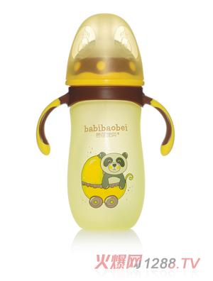 芭芘宝贝高硼硅包胶玻璃奶瓶 黄色