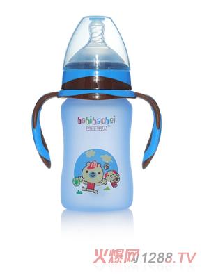 芭芘宝贝高硼硅包胶玻璃奶瓶